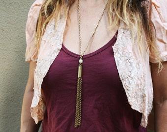 Tassel Necklace *BULK OPTIONS* Bullet Casing chain tassel drop Y necklace long vintage chain. haute drippy festival gun High fashion k10