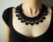 Black collar lace necklace with beaded crochet flowers