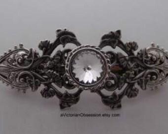 Hair Barrette Victorian Wedding rhinestone Hair barrette silver and Crystal