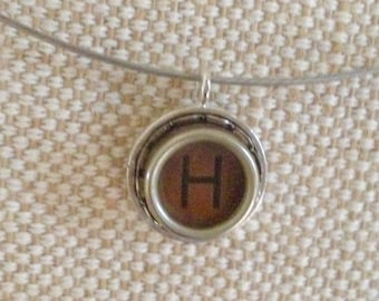 Letter H typewriter key charm necklace / brown  typewriter key / monogram initial necklace / personalized jewelry / typewriter jewelry