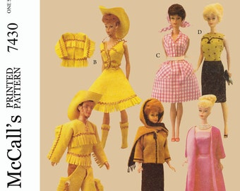 McCall's 7430 - for 11 1/2 inch dolls such as barbie, midge and also ken! western outfits, gowns, etc PDF