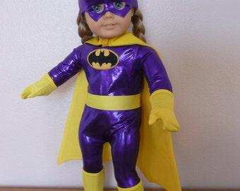 Bat Girl Purple, Batgirl Purple, Superhero, Super Hero, outfit or costume for American Girl Doll