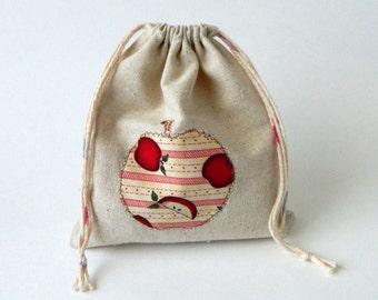 Back to School Reusable Sandwich or Snack bag, Fabric Drawstring Bag, red apples drawstring snacks bag, Eco-friendly snacks bag
