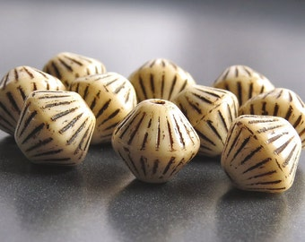 Beige Brown Picasso Czech Glass Bicone Bead 11mm : 10 pc Cream Bicone Bead