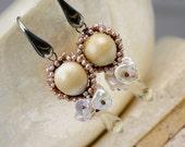 Dangle Earrings- Lampwork Earrings - Wire Wrapped Earrings - Pearl Earrings - Gemstone Earrings - Luxury Earrings - Post Earrings