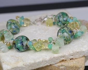 Lampwork Bracelet, Gemstone Bracelet, Wire Wrapped Bracelet, Beaded Bracelet, Cluster Bracelet, Artisan Bracelet, Charm Bracelet