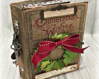 CHRISTMAS WISHES December Daily Mini Planner Organizer Junk Journal Smash Book Scrapbook Art Journal  2 Ring Binder