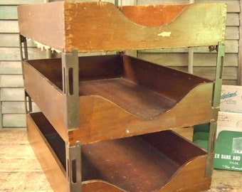 Vintage Wood stack of 3 level paper desk tray in box Industrial wood dovetail corners Globe Wernicke USA