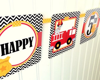 Firetruck Happy Birthday Banner / Firetruck Party Banner Personalized with Name and Age / Red, Yellow and Black Chevron Firetruck Banner