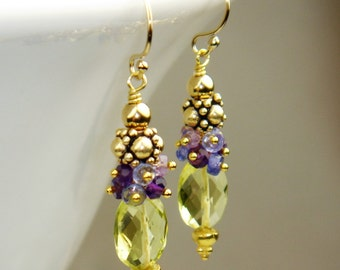 Lemon Quartz, Amethyst and Tanzanite Earrings