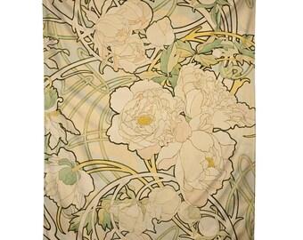 Alphonse Mucha Peonies Tapestry