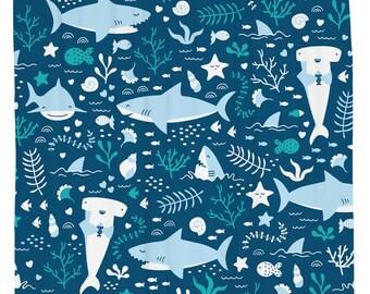 Shark Shower Curtain, Fish Shower Curtain, Kids Shower Curtain, Nautical Decor, Ocean Themed Bathroom, Beach Theme, Blue Fabric Curtain