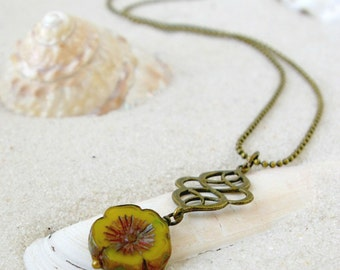 Layering Necklace - Boho Jewelry - Pendant Necklace - Yellow Necklace - Gift for Wife - Bead and Chain Necklace - Orange and Green Series