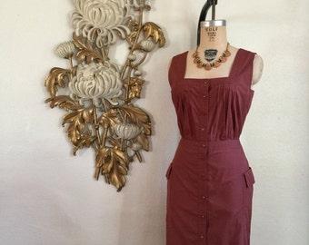 Fall sale 1980s dress cotton dress brown dress size medium vintage dress dress with pockets cacharel dress
