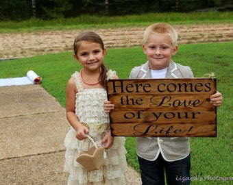 Large Rustic Wedding Sign Here comes the Love of your Life Bride Ring Bearer Flower girl Wooen Ceremony Country Barn Wood Pallet style