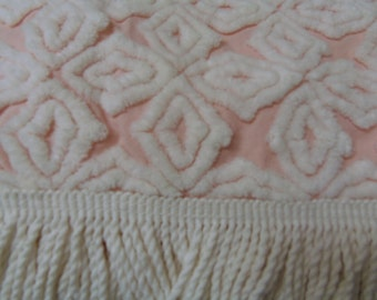Hoffman Pink White Chenille Beadspread Beautiful Tumbling Blocks Vintage Chenille Bedspread sewbuzyb