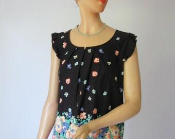 Daisy Mae - Pretty Vintage Floral Cotton Flutter Blouse XL XXL