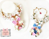 SALE-Pearl  Unicorn Necklace Pink or Blue bow Merry go Round Kawaii Jewelry Necklace