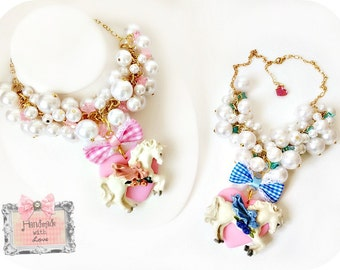 Pearl  Unicorn Necklace Pink or Blue bow Merry go Round Kawaii Jewelry Necklace