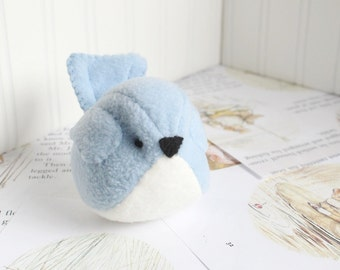 Kawaii Plush Bird Handmade Blue Bird Stuffed Animal Plush Bird Pastel Bluebird Bubbletime Plush Fleece Bird