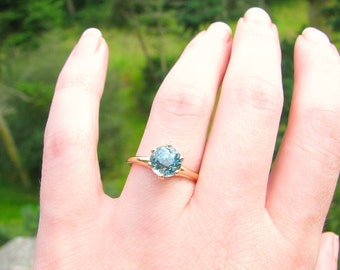 Big Beautiful Blue Zircon Ring, Super Sparkly 2.75 ct. Natural Old Cut Zircon Solitaire, Classic Gold Setting, Lovely Engagement Ring
