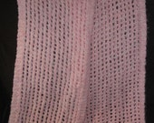 "New Handmade Pink Angel Hair Boucle Knit Scarf - 10"" x 66"""