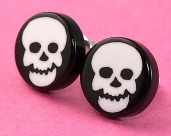 Skull Ear Posts - Studs - Skull Stud Earrings - Black & White