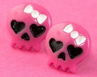 Girl Skull Ear Posts - Studs - Skull Stud Earrings - Hot Pink