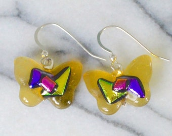 Glass Butterfly Drop Earrings Soft Golden Yellow Fused Art with Colourful Metallic Dichroic Glass on 925 Sterling Silver Wires Gift Box