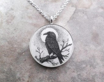Scrimshaw Pendant Raven Pendant Raven Necklace Raven Full Moon Raven on Branch Cow Bone Scrimshaw Crow Raven Bird Birds Poe
