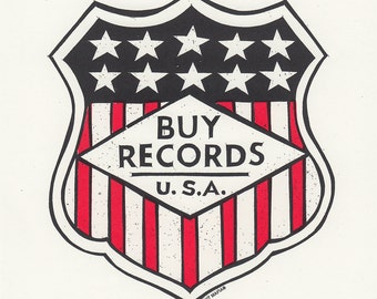 "BUY RECORDS 6"" x 6"" Screen Print by Print Mafia®"