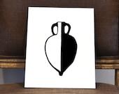 Classical Greek Pottery, Amphora, 11x14 or 8x10 Original hand-cut paper art