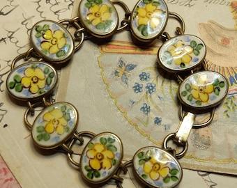 Vintage Sterling Enamel Linked Bracelet