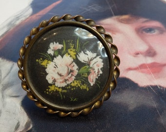 Antique Pin Watercolor Flowers Casket Clasp Brass Setting