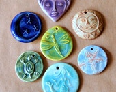 7 Handmade Ceramic Beads - Assortment of Spiritual Designs - Handmade Pendants Charms - Sun bead Moon Pendant Goddess heart