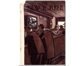New Yorker Magazine Cover ONLY Vintage Original artist Peter Armo 1-29-49 Men in New York Bar CONDITION  ISSUES