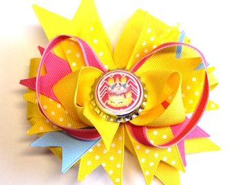 Boutique Bottle Cap Yellow Shopkins Inspired Hair Bow Clip