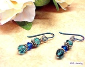 Blue Earrings - Cyrstal Earrings - Niobium Ear Wires - E0808-06
