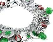 Shamrock Jewelry - Luck of the Irish- Celtic Jewelry - Shamrock Bracelet - Emerald Crystal Clover - Lucky Charm Bracelet