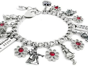 Alice in Wonderland Bracelet, Mad Hatter Charm, Cheshire Cat Bracelet, White Rabbit, Childrens or Adult charm bracelet