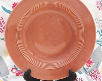Rose Pink Harlequin Rimmed Deep Soup Plate Vintage 1950s Homer Laughlin 8-1/2 inch Bowl Fiestaware Mid Century Modern