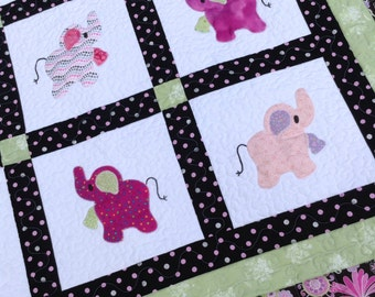 Elephant Treasures Big Sister quilt girly girl