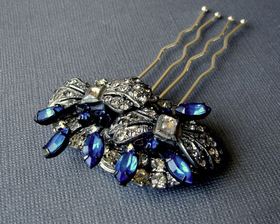 Royal Blue Jeweled Hairpiece Vintage WARNER Jewelry Rhinestone Hair Comb Something Old Bow Shoes Clips UpCycled Wedding Formal Gatsby Bride
