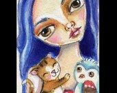 ACEO, Big eyed Girl, Owl, Kitten, Cat, Original Whimsical Collectible art, ACETSY team