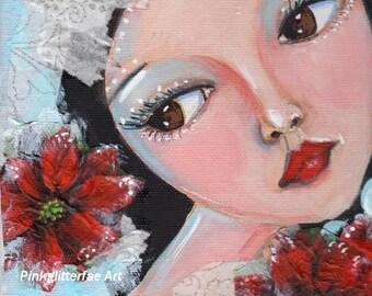 Whimsical portrait,  Home Decor, Original painting, poinsettia,Whimsical girl, Winter