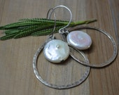 Rustic Oxidized Sterling Silver Hammered Hoop with Coin Pearl Center
