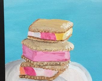 Sherbet Ice Cream Sandwich Treat Original Oil Painting