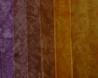 clear PURPLE to muted Yellow Shades - hand dyed Fabric - 6 pc Fat Quarter Gradation Bundle - Tuscan Rose CPMY611