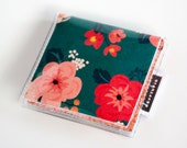 Handmade Vinyl Moo Square Card Holder - Wild Spirit / case, vinyl, snap, wallet, paper, mini card case, moo case, square, floral, pretty
