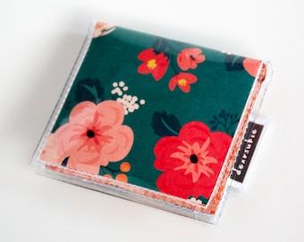 Handmade Vinyl Moo Square Card Holder - Wild Spirit / case, vinyl, snap, wallet, paper, mini card case, moo case, square, floral, pretty